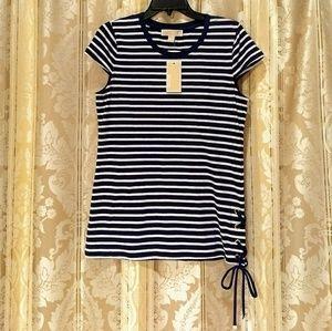 🆕Michael Kors Navy/White Stripe Side Tie Tee SZ M